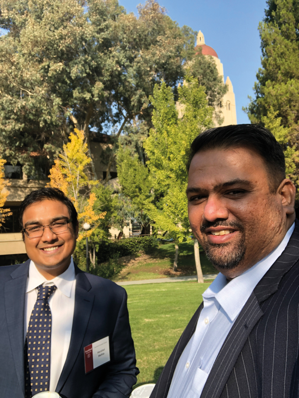 Hershel Mehta (left) and Sanjay Mehta visit Stanford University for an investment summit