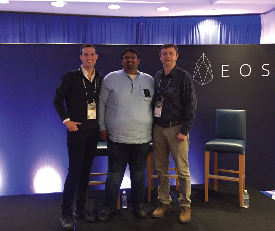 Sanjay Mehta with Brendan Blumer (left) and Daniel Larimer, founders of Block.one, the tech company producing the EOS.IO  in 2017