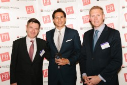 Hugo Peris, of Loop Therapeutics, (centre) won the Top Next-Generation Entrepreneur Award at the European Families in Business Awards 2015, with Patrick Folléa, deputy head of Societe Generale Private Banking (left) and Nicholas Moody, editor of CampdenFB and CampdenFO.