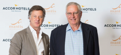 Sebastien Bazin (left), chairman and chief executive of AccorHotels, with Adrian Gardiner, founder and chairman of Mantis Group