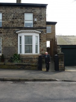 Peter Thornton outside of his ancestral home